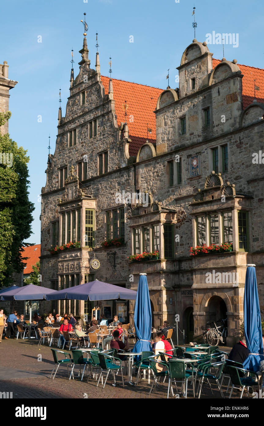 market square, historic old town, Rinteln, Weserbergland, Lower Saxony, Germany - Stock Image