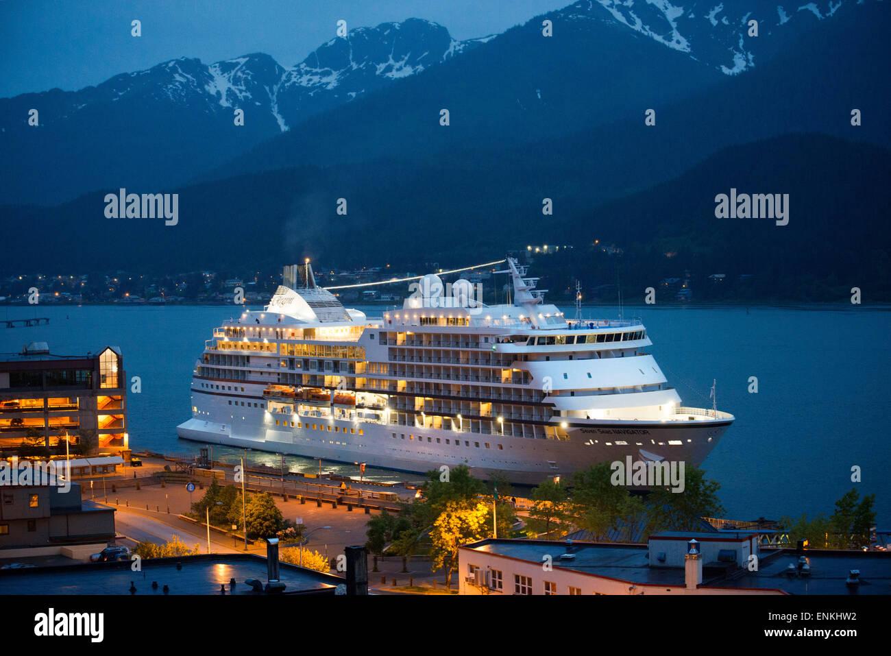 View of the pier and downtown of Juneau, Alaska. Downtown Juneau sits snugly between Mount Juneau, Mount Roberts Stock Photo