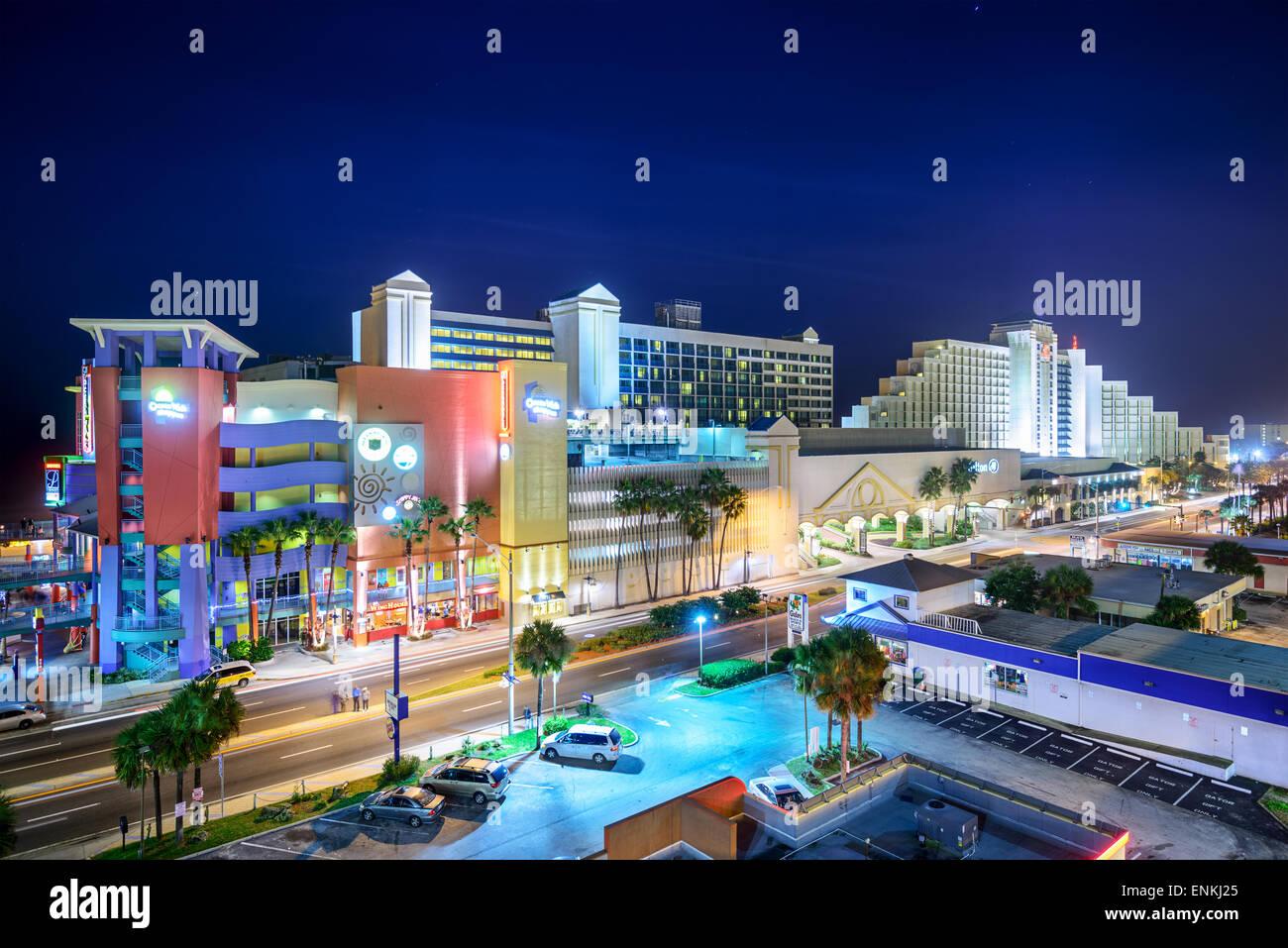 Daytona Beach, Florida, USA hotels and shops. - Stock Image