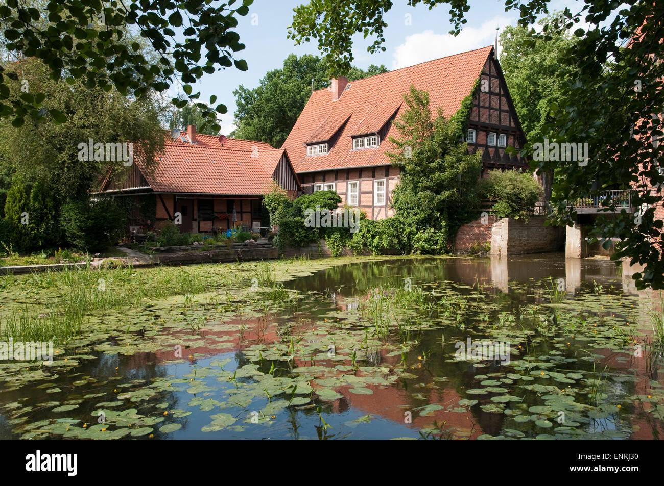 Alte Wassermuehle, Kloster Wienhausen, Niedersachsen, Deutschland |  Old watermill, Abbey Wienhausen, Lower Saxony, - Stock Image