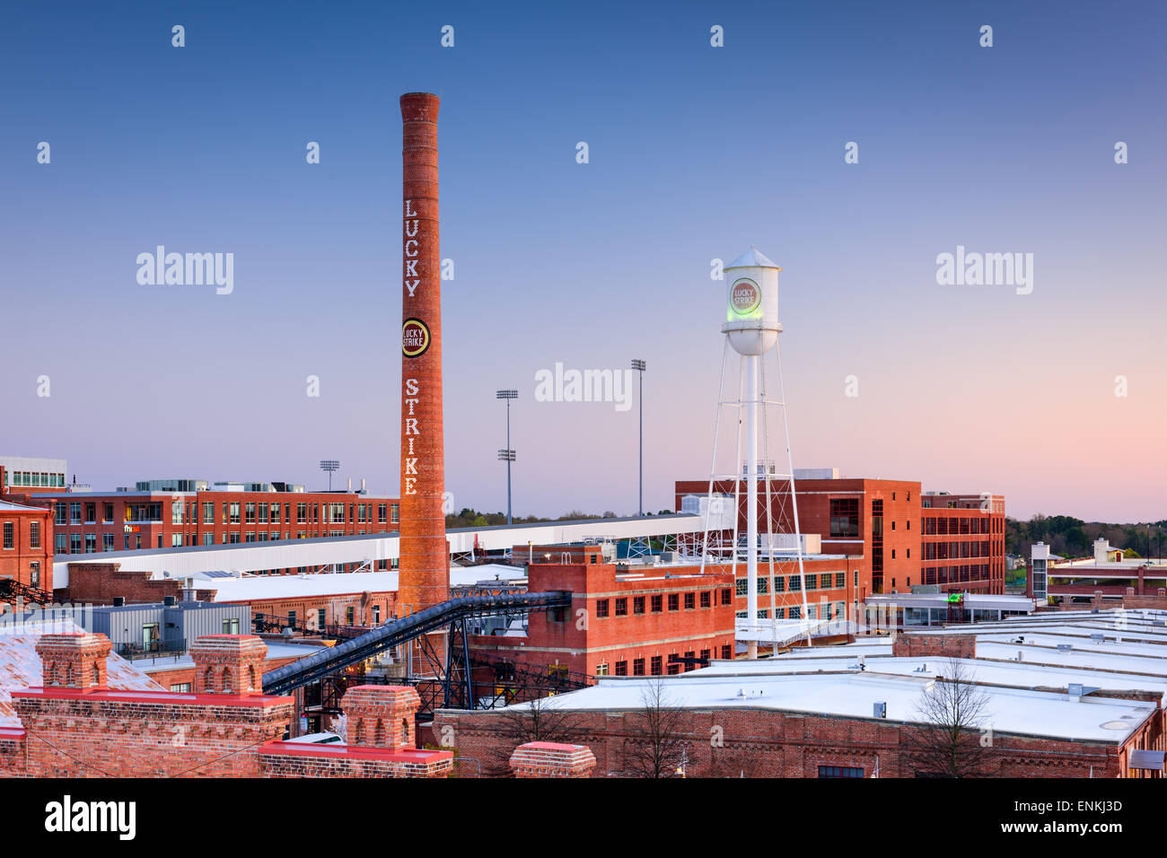 Durham, North Carolina, USA at The American Tobacco Historic District. - Stock Image