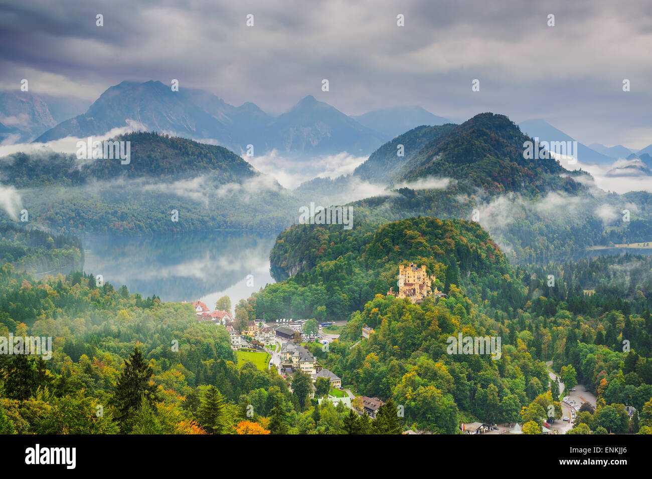 the Bavarian Alps with Hohenschwangau, Germany. - Stock Image