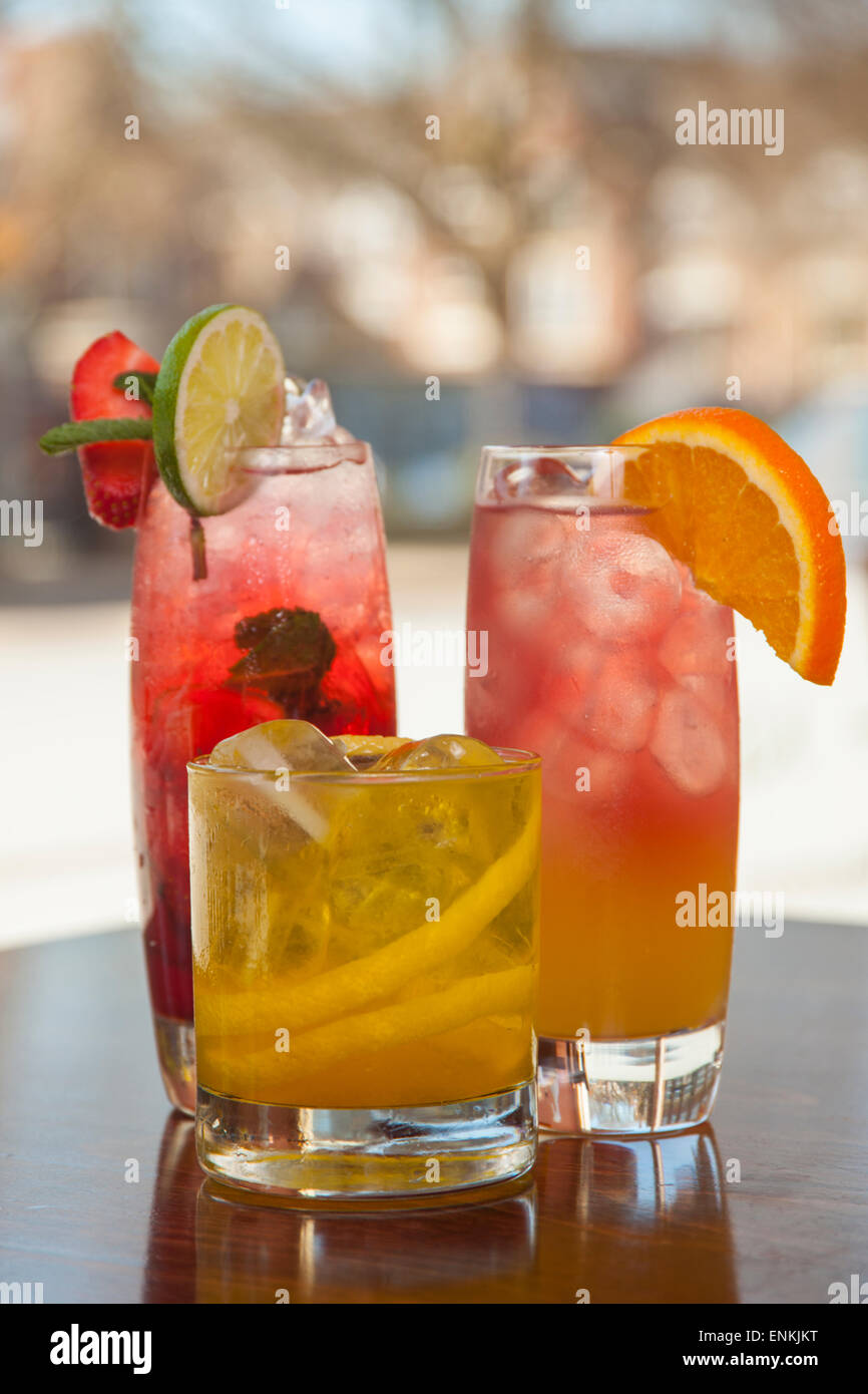 colourful cocktails on a bar Stock Photo
