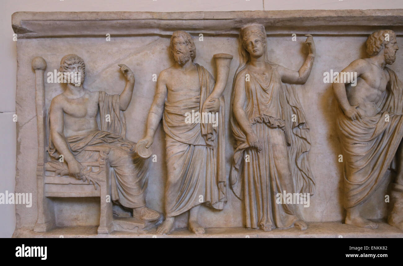 Roman art. Jupiter, Pluto, Persephone and Neptune. Relief. National Roman Museum. Palazzo Altemps. Rome. Italy. - Stock Image