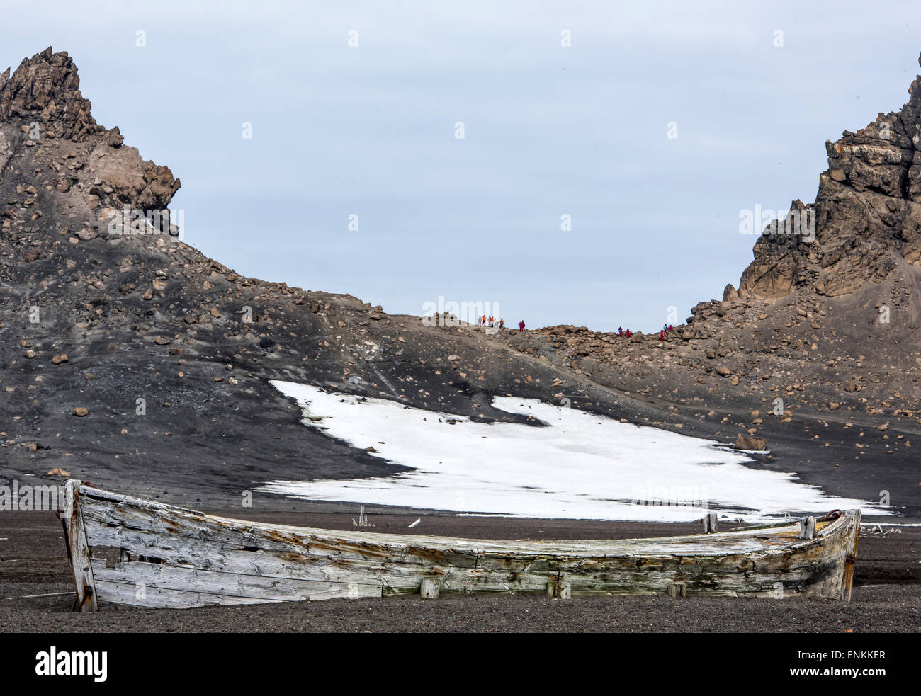 Tourists hiking Deception Island South Shetland Islands Antarctic Peninsula Antarctica - Stock Image