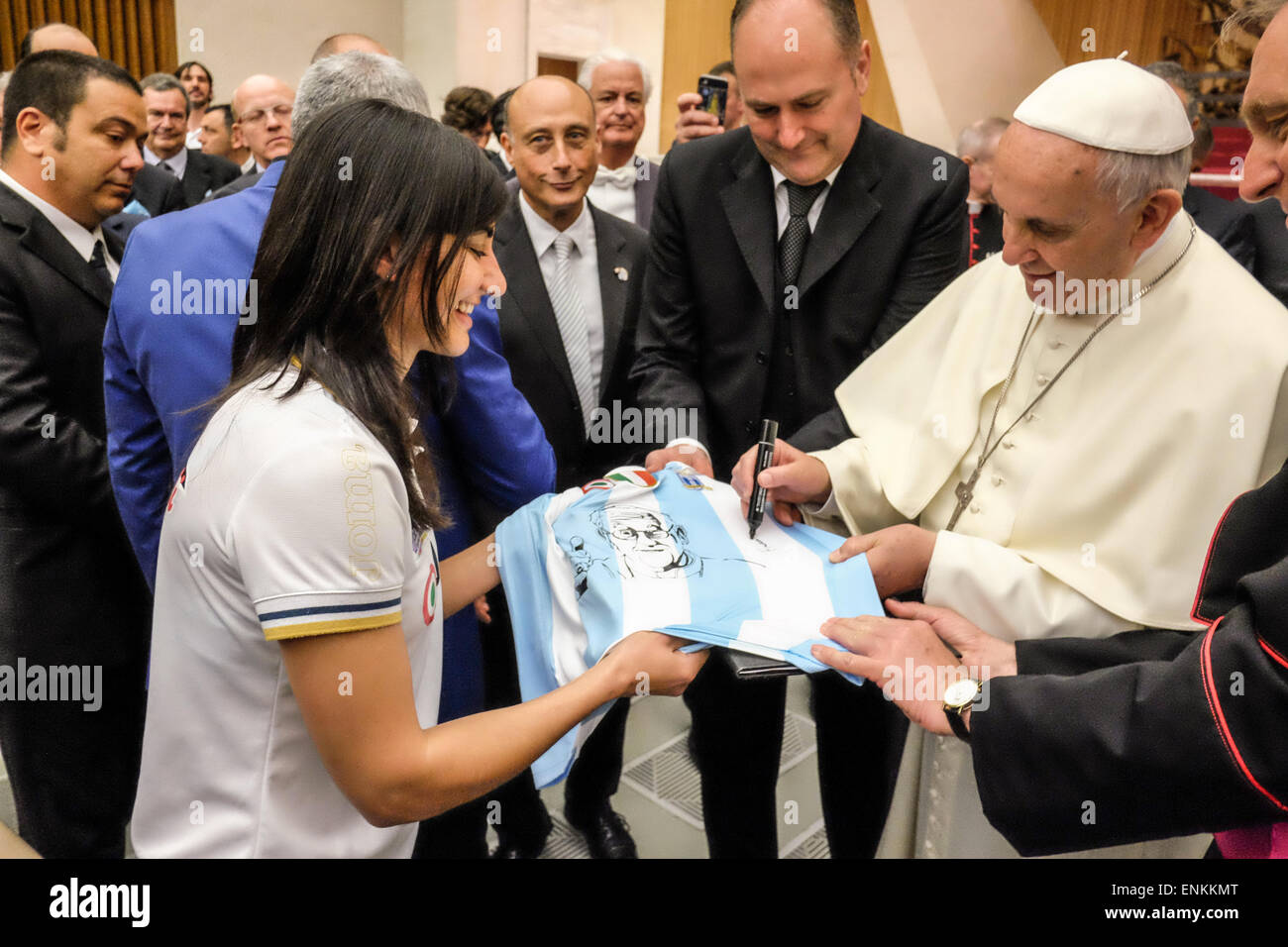Nervi Hall, Vatican City. 7th May, 2015. the football club SS Lazio in Audience from Pope Francis. Credit:  Realy - Stock Image