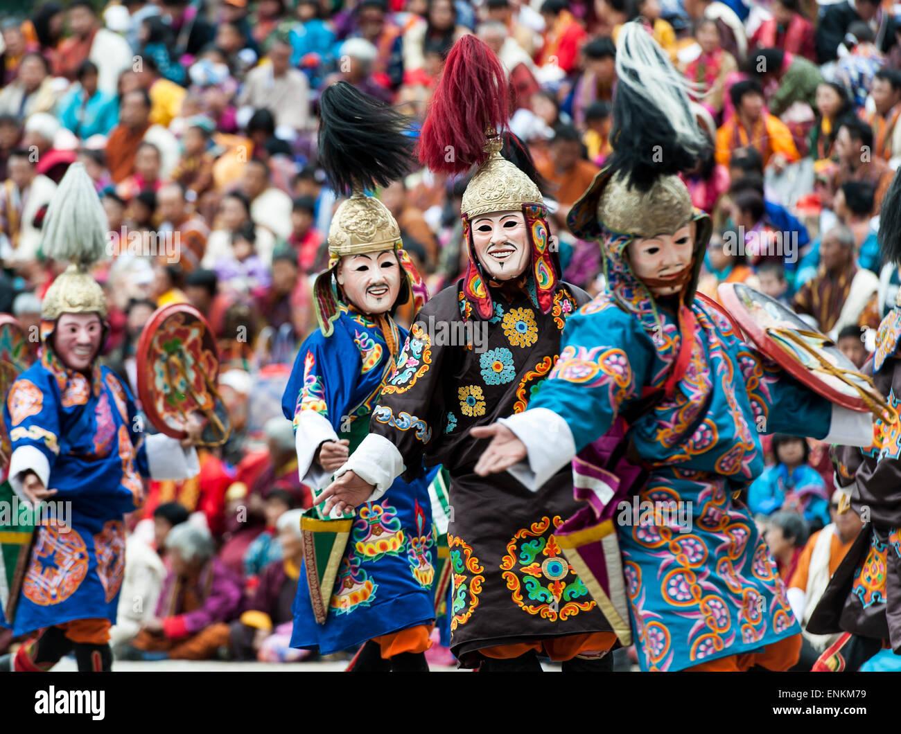 Dancers performing at Paro religious festival Bhutan - Stock Image
