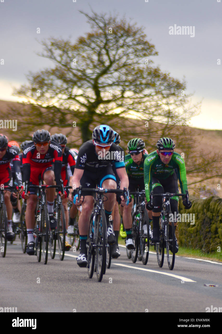 Tour De Yorkshire bike race winner Lars Petter Nordhaug from team SKY on May 03 2015 at Mytholmroyd. - Stock Image