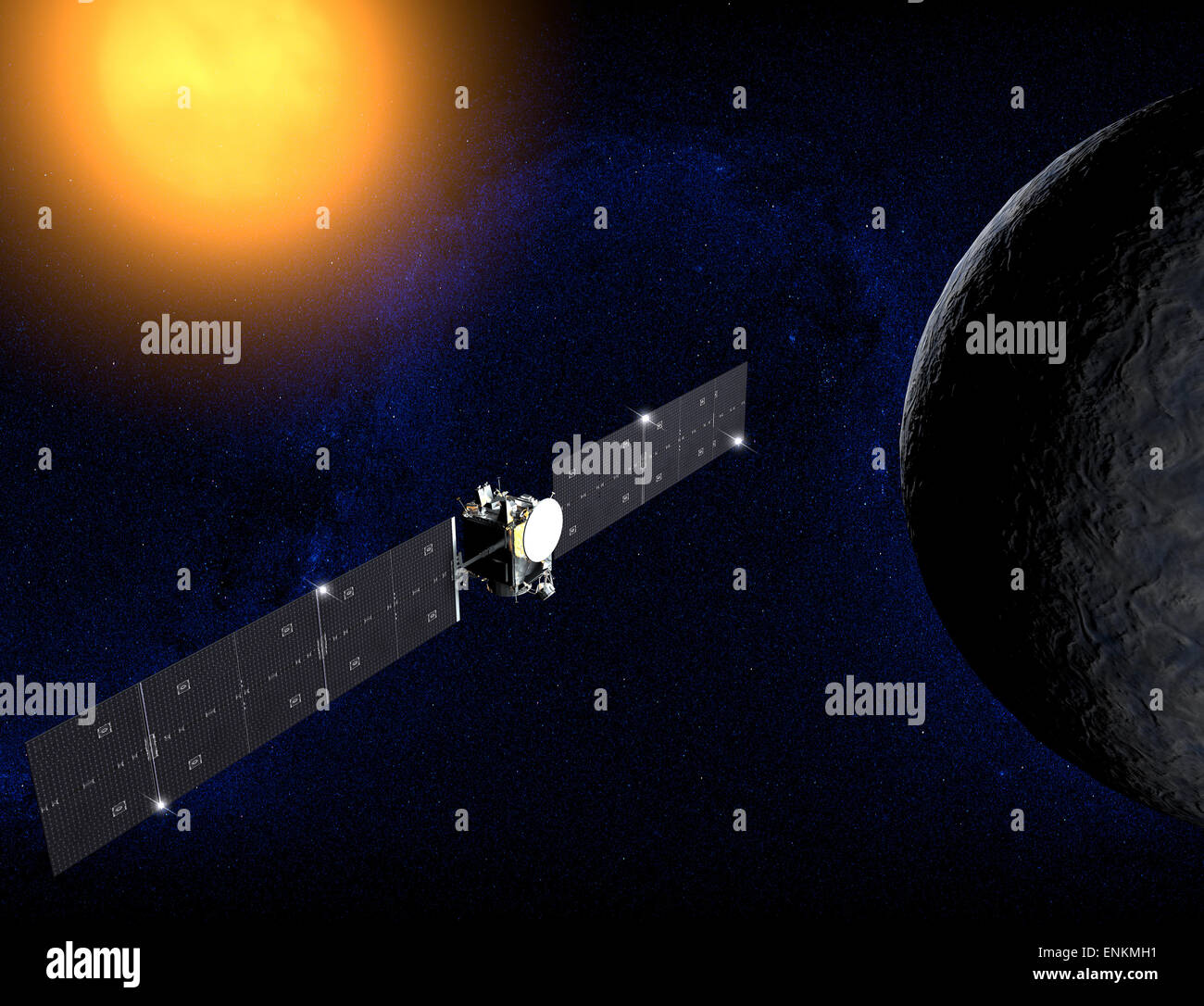 Ceres (dwarf planet) and Dawn probe. Element of this image are furnished by NASA - Stock Image