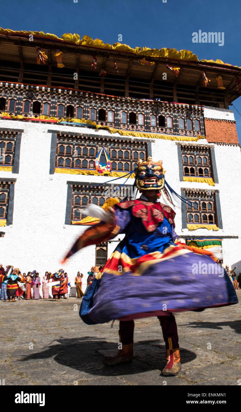 Dance of the Sixteen Fairies at Paro religious festival Bhutan - Stock Image