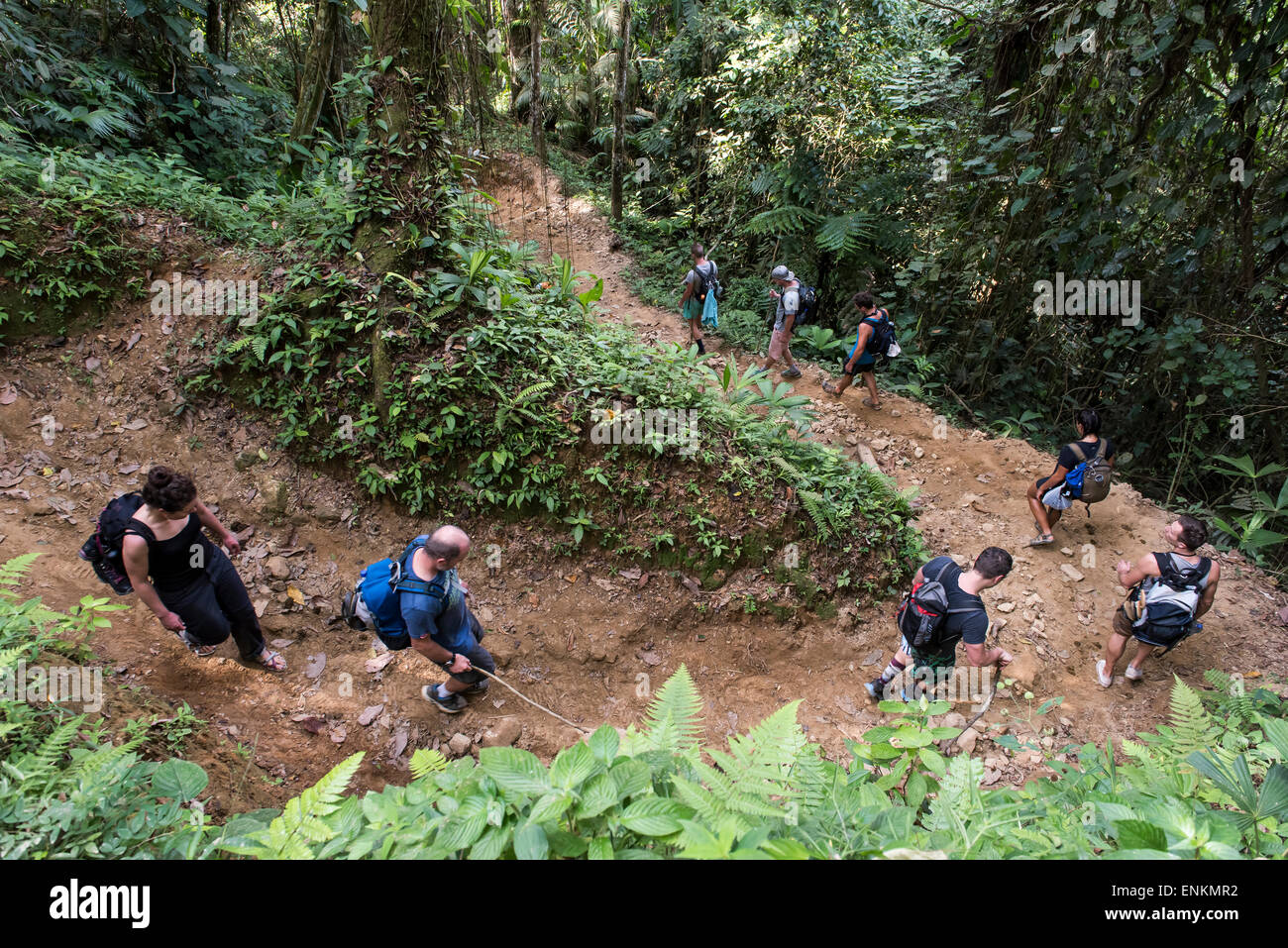 Tourists hiking through Lost City (Ciudad Perdida) trek Sierra Nevada mountains Santa Marta Colombia - Stock Image