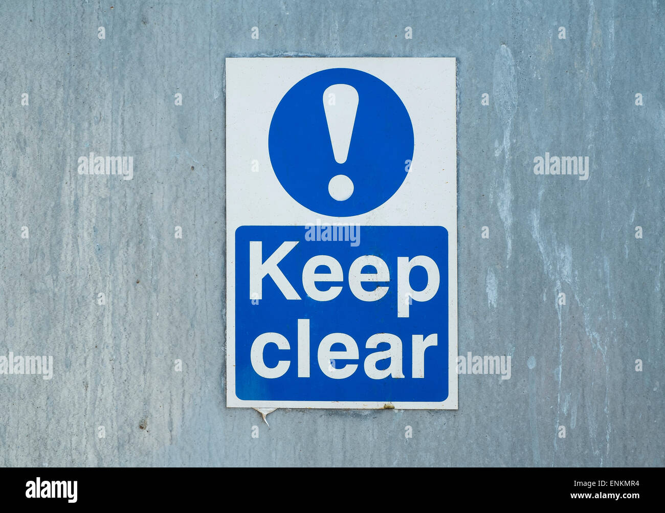 Keep clear sign notice - Stock Image