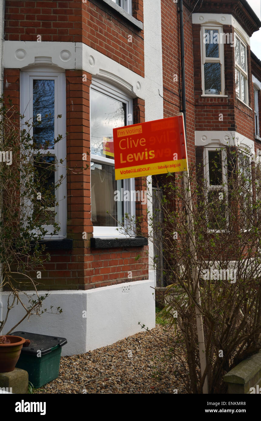 General Election 2015 - support for Norwich South labour candidate, Clive Lewis - Stock Image