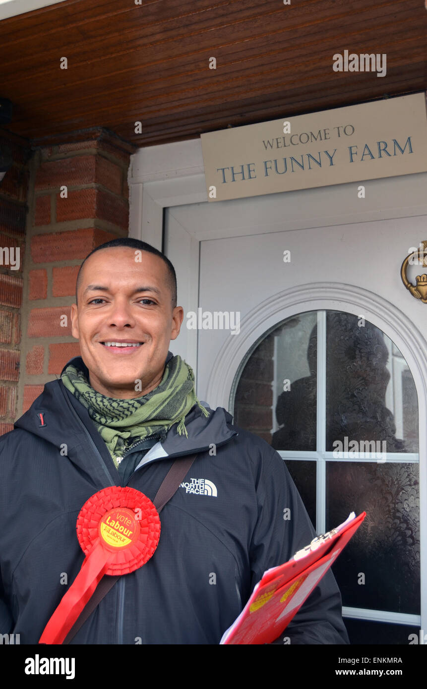 General Election 2015 - Norwich South labour candidate Clive Lewis canvassing - Stock Image