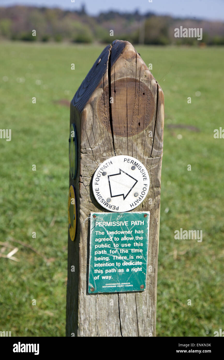 Sign on a path in Bedfordshire, England Stock Photo