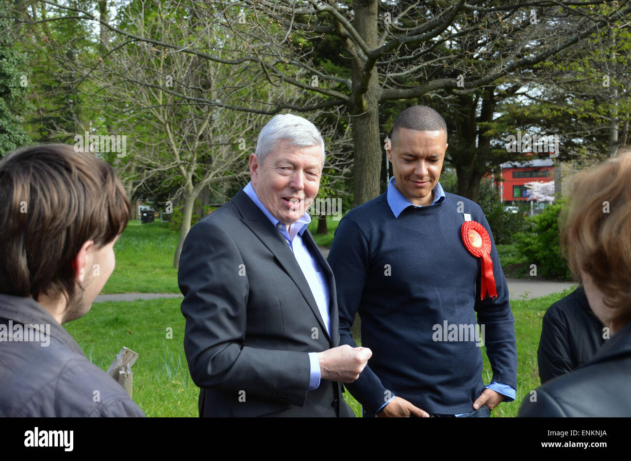 General Election 2015 -Alan Johnson canvassing with South Norwich labour candidate Clive Lewis, April 2015 - Stock Image
