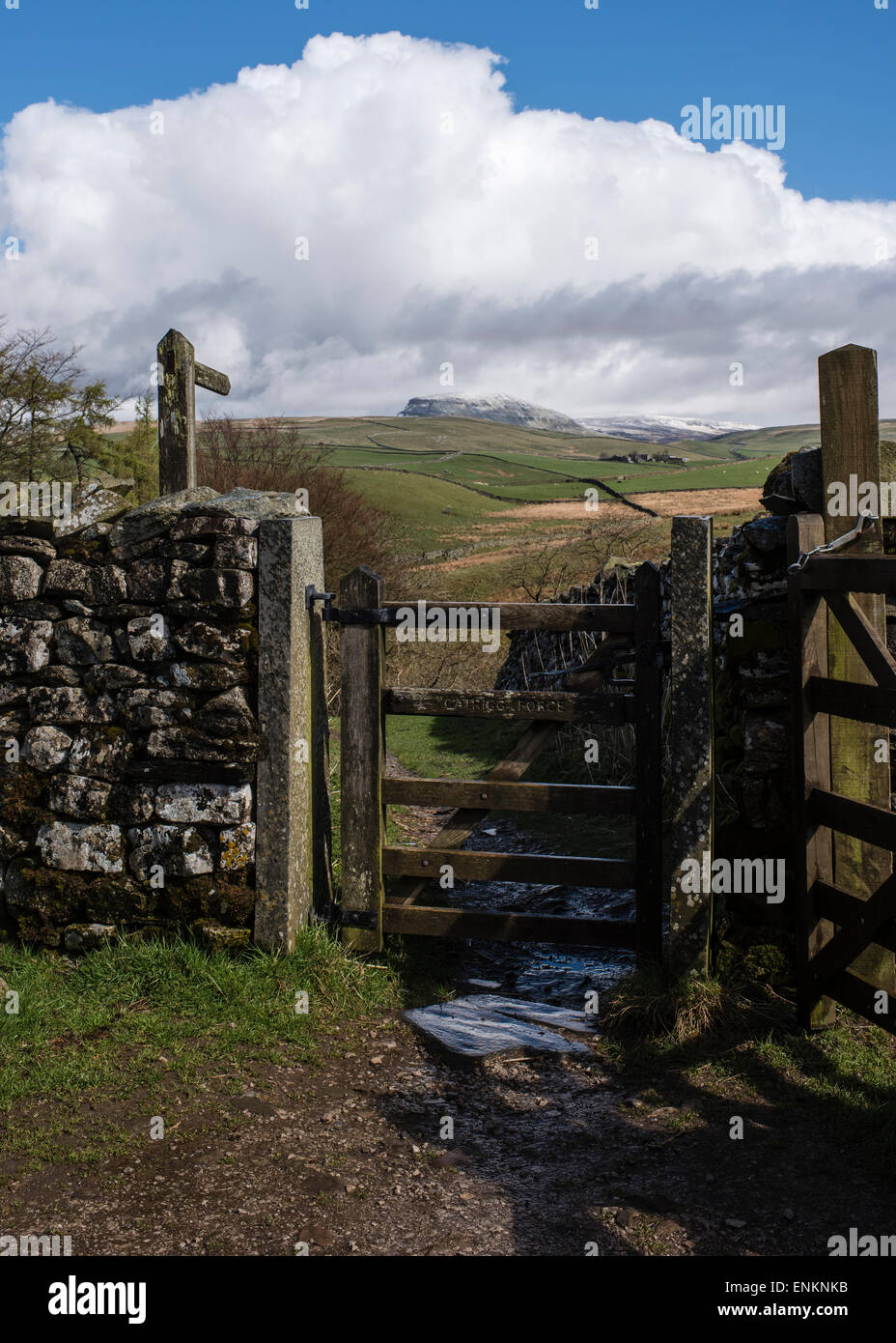 After the hail and rain, gateway to Catrigg Force, Stainforth, Yorkshire Dales National Park, England - Stock Image