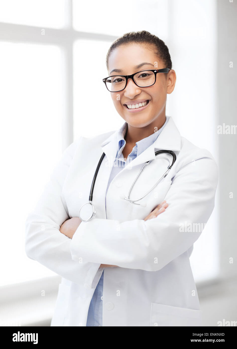 african female doctor in hospital - Stock Image