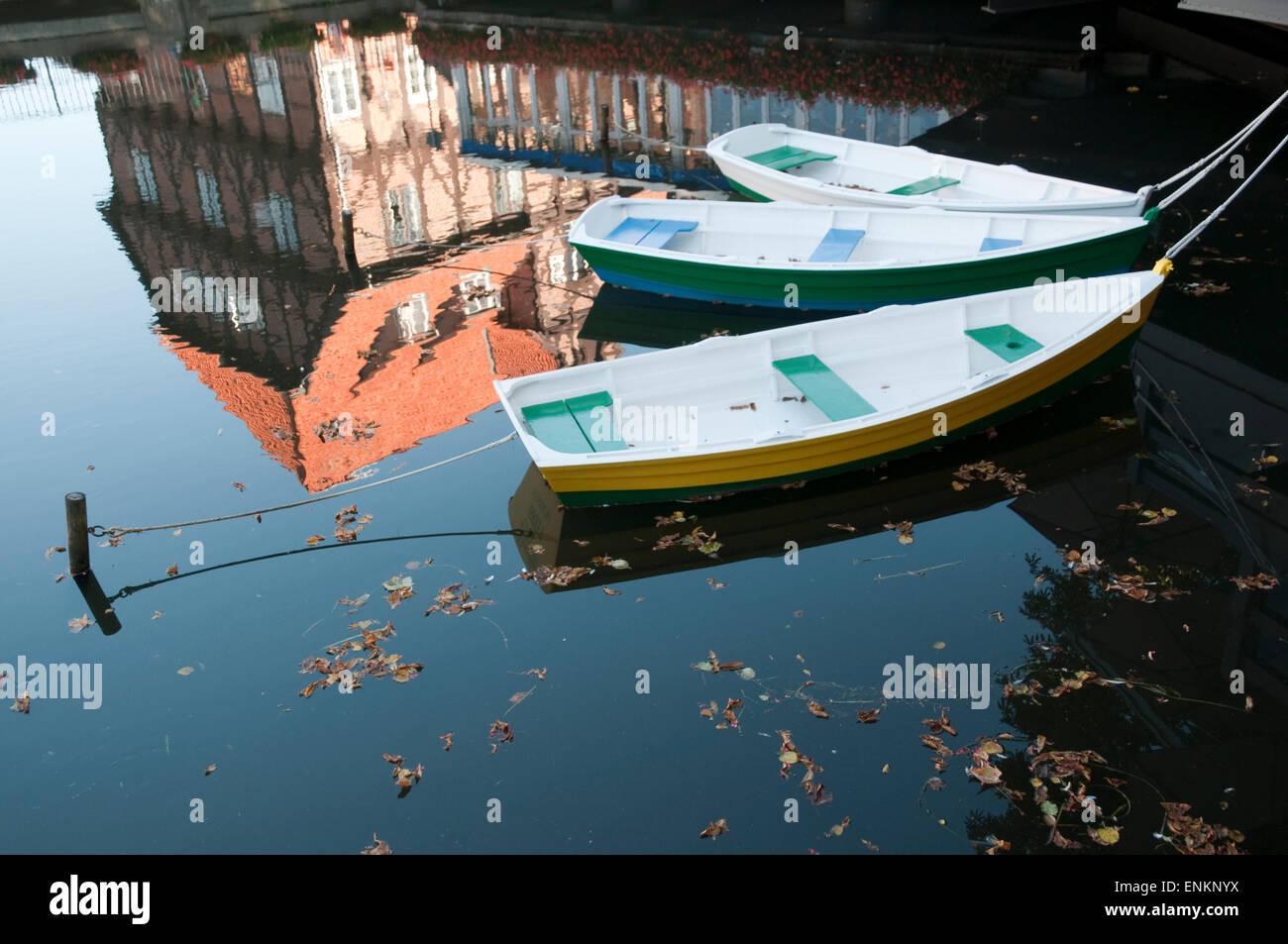 Spiegelung der Luener Muehle, Boote, Alter Hafen, Lueneburg, Niedersachsen, Deutschland |  reflection of Mill, Old - Stock Image