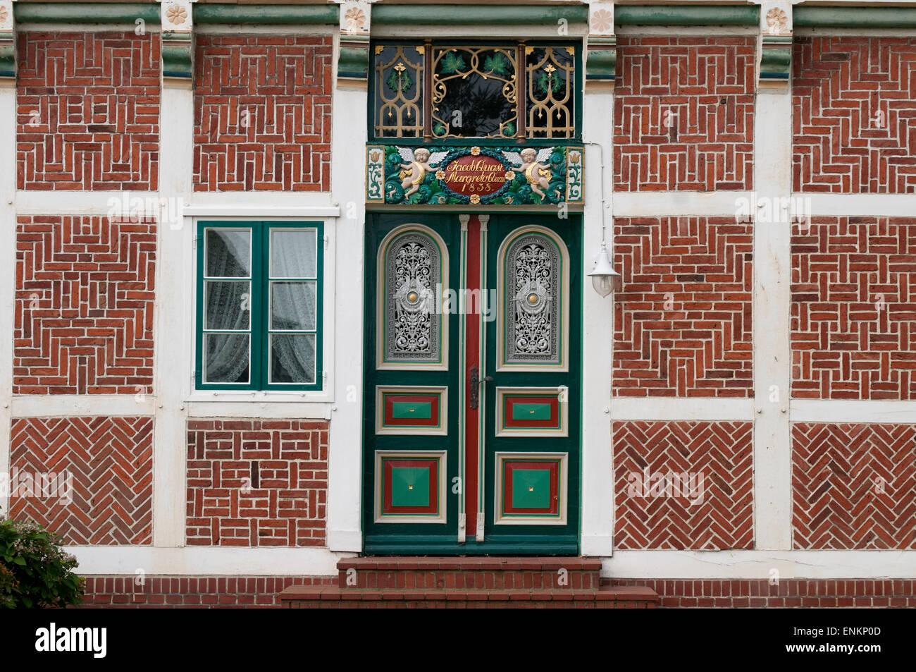 Tuer, Bauernhof, Fachwerk, Altes Land, Niedersachsen, Deutschland |  Door, Farm house, timber framed, Altes Land, - Stock Image