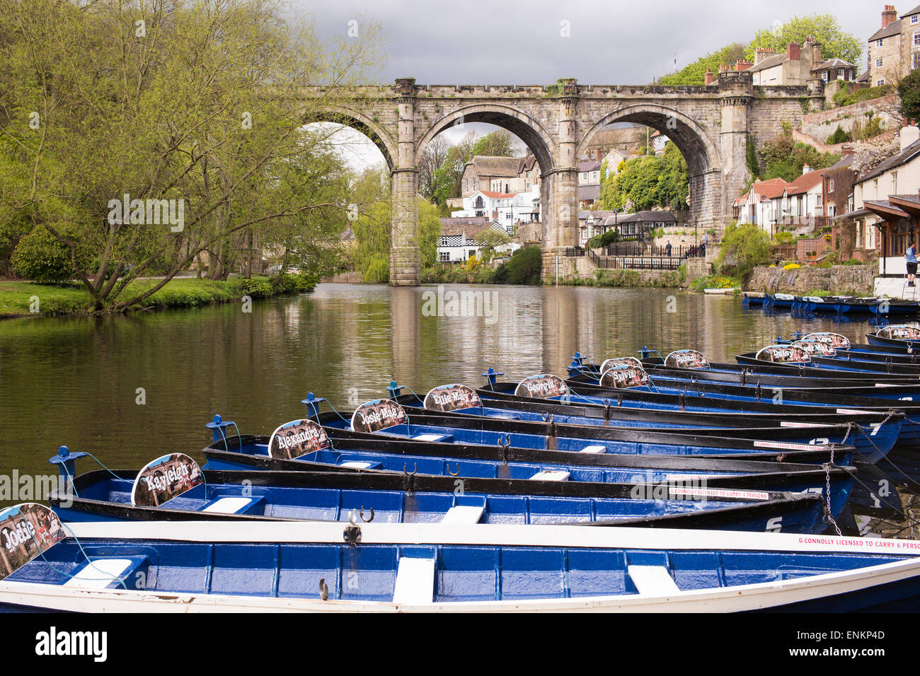 Rowing boats lined-up and ready for visitors to Knaresborough, North Yorkshire, England - Stock Image