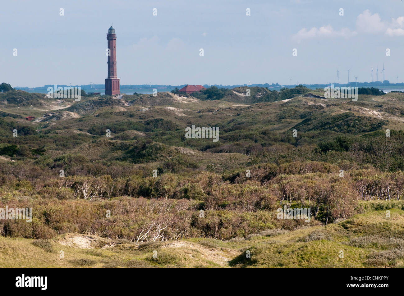 ight house, dunes, Norderney, North Sea island, Ostfriesland, Lower Saxony, Germany Stock Photo
