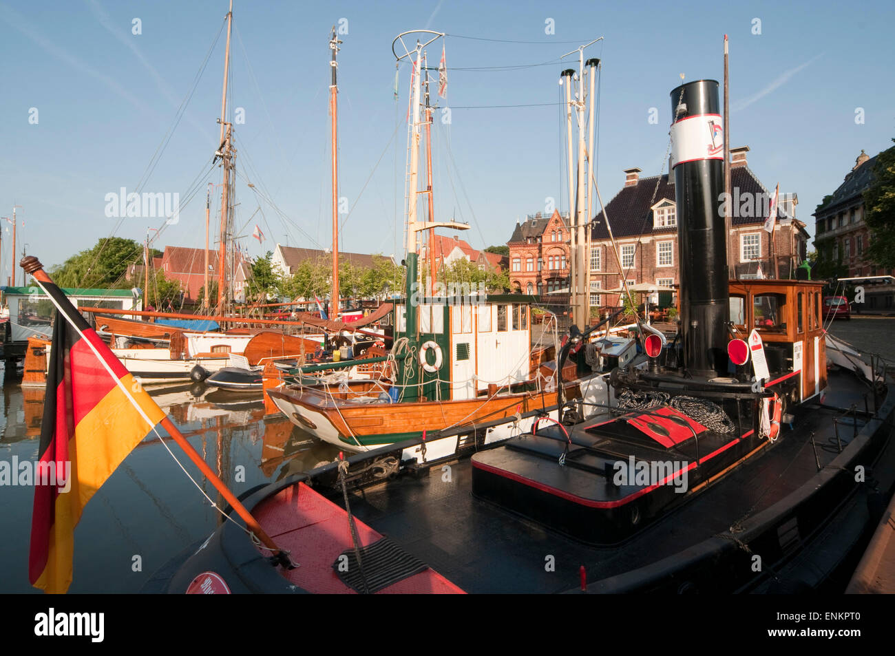 museum ships in the harbour, Leer, Ostfriesland, Lower Saxony, Germany - Stock Image