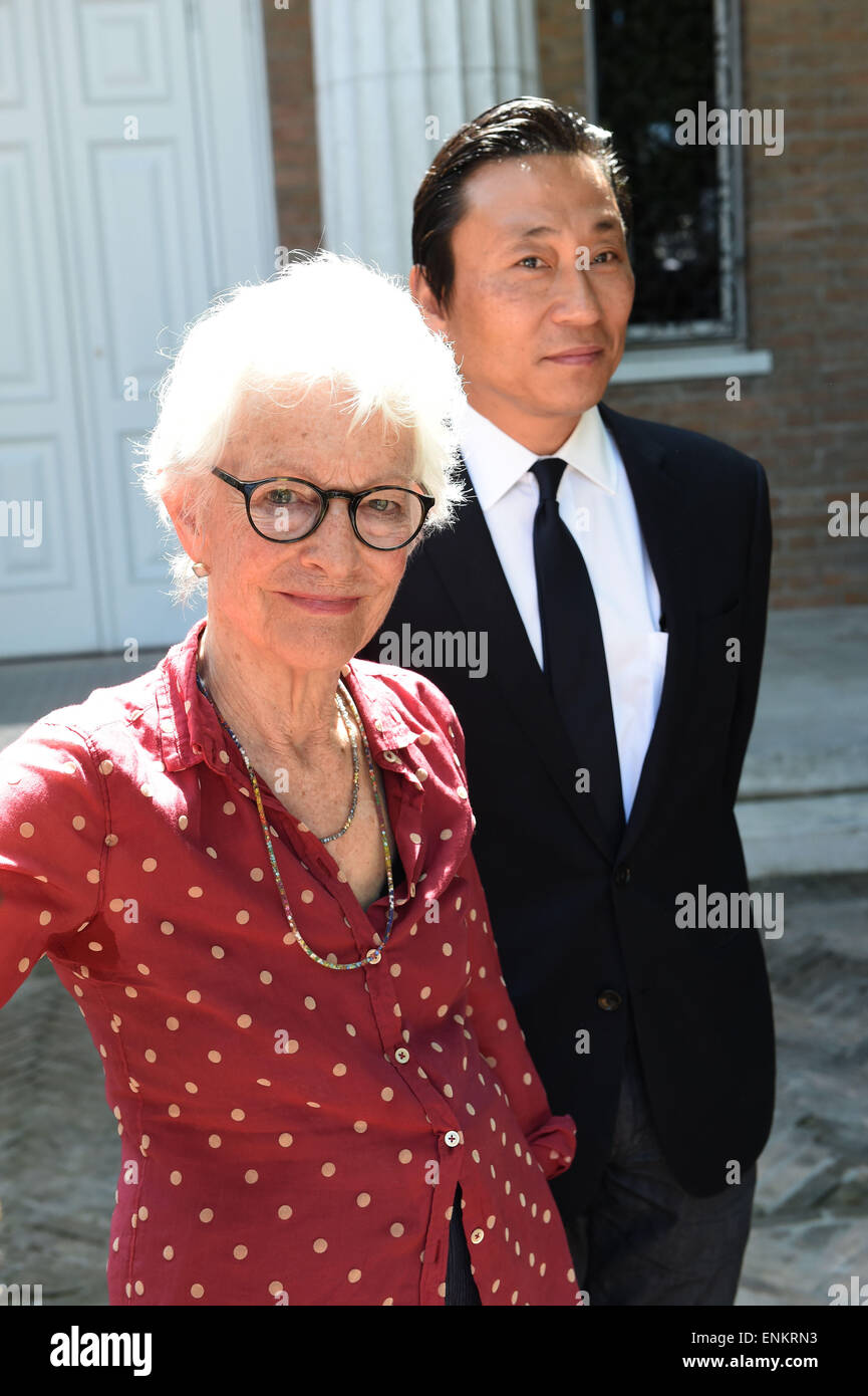 Venice, Italy. 07th May, 2015. Artist Joan Jonas and Paul Ha, director of the List Visual Art Center, pose in the Stock Photo
