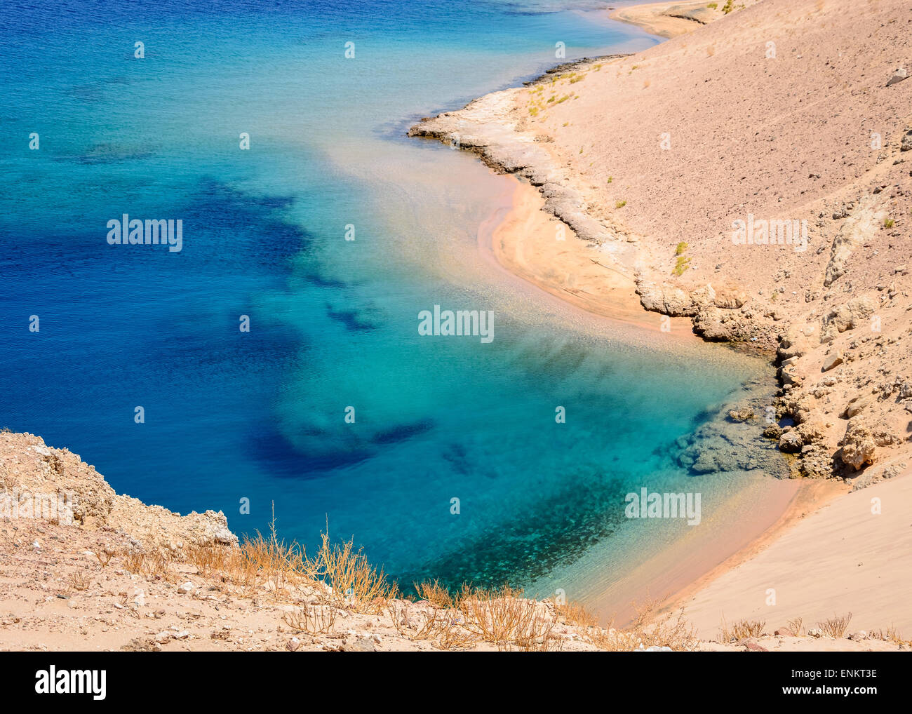 In the picture Ras Mohammed a beautiful turquoise lagoon with rocky beaches located in Egypt in the Red Sea - Stock Image