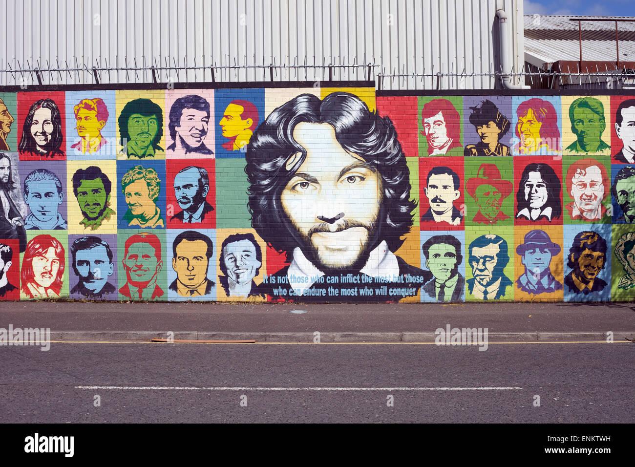 Solidarity Mural, Falls Road, Belfast, Northern Ireland - Stock Image