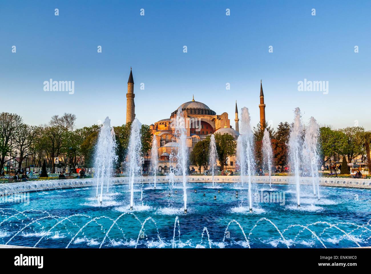 Hagia Sophia Mosque In Sultanahmet Square, Istanbul, Turkey. Hagia Sophia Museum Istanbul Turkey - Stock Image