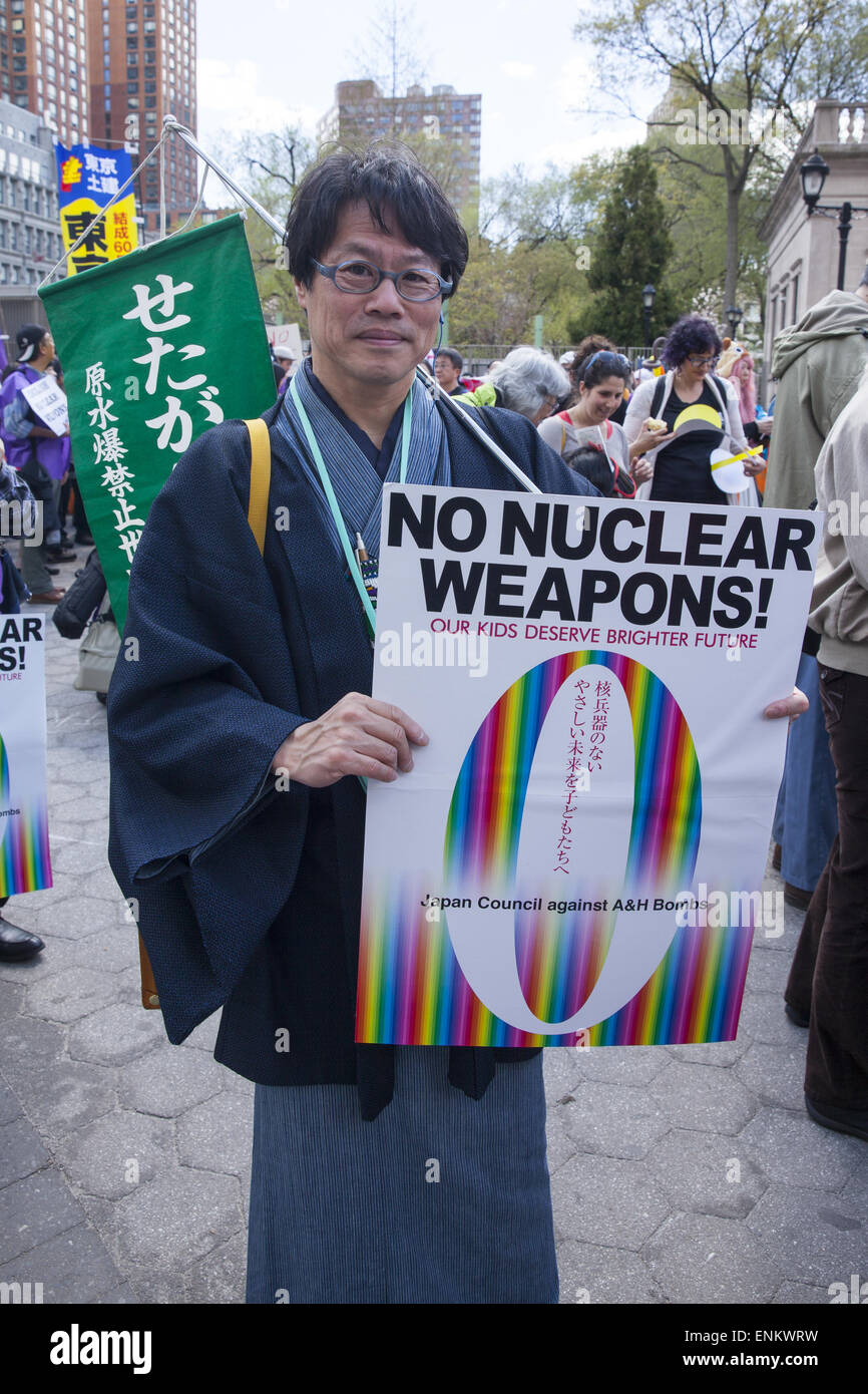 Rally & march for World nuclear disarmament in NYC on the eve of the Conference on the Non-Proliferation of - Stock Image