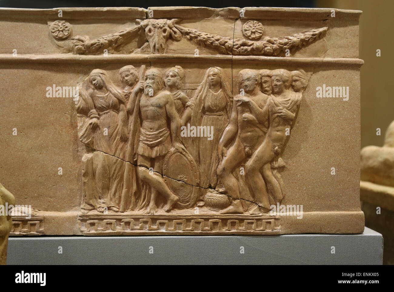 Urn of classical inspiration with scenes from the myth of Iphigenia miniature altar with double echinus. 5th century Stock Photo