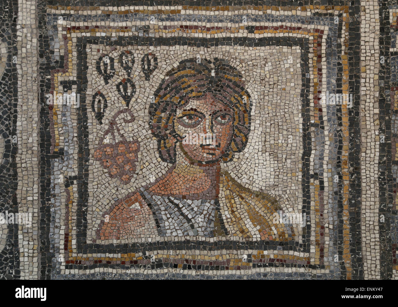 Roman mosaic with the seasons. Rome, Le Campanelle, Via Appia Nouva. 4th-5th century AD. National Roman Museum. - Stock Image