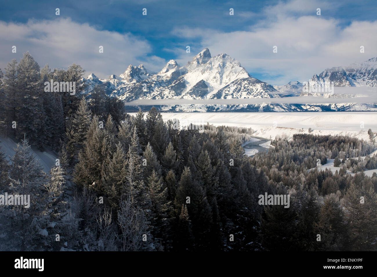 The Teton's in Snow, Black and White - Stock Image