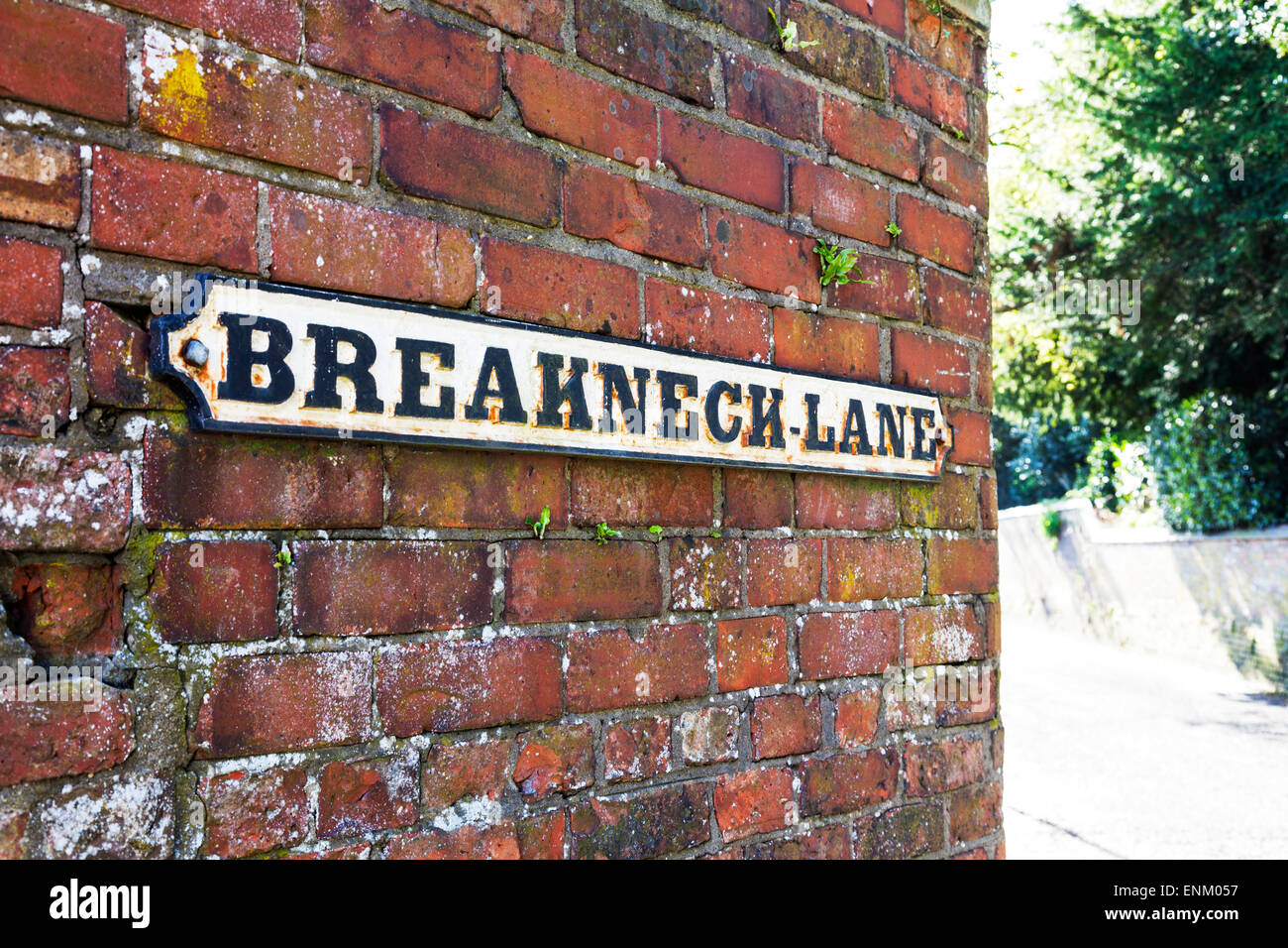 weird strange unusual funny amusing road street name sign signs 'Breakneck Lane' Louth Lincolnshire UK England - Stock Image