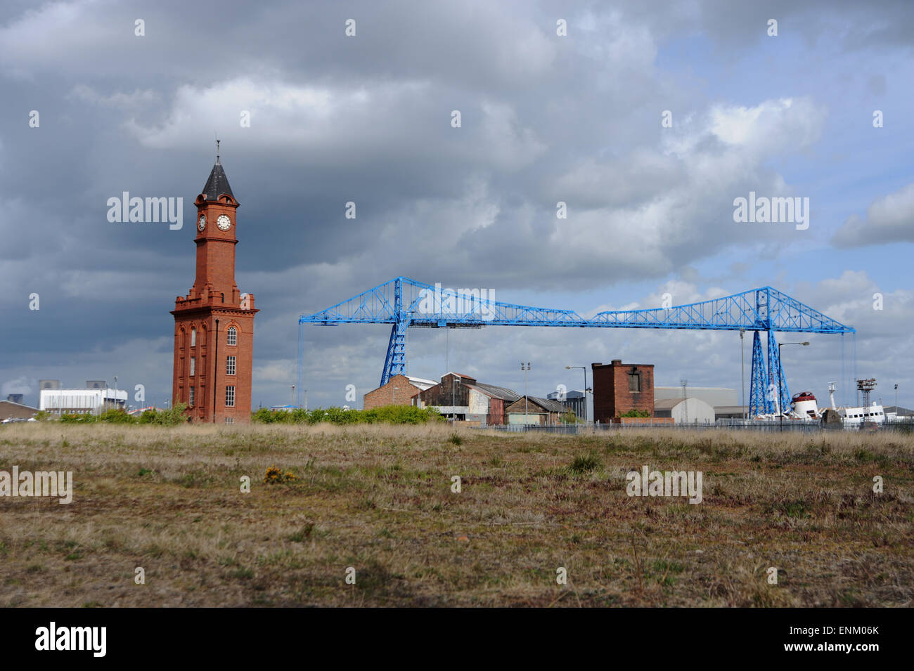 Middlesbrough Teeside UK - The Tees Transporter Bridge in North East - Stock Image