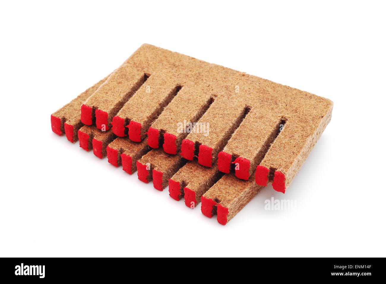 long burning matches on white - Stock Image