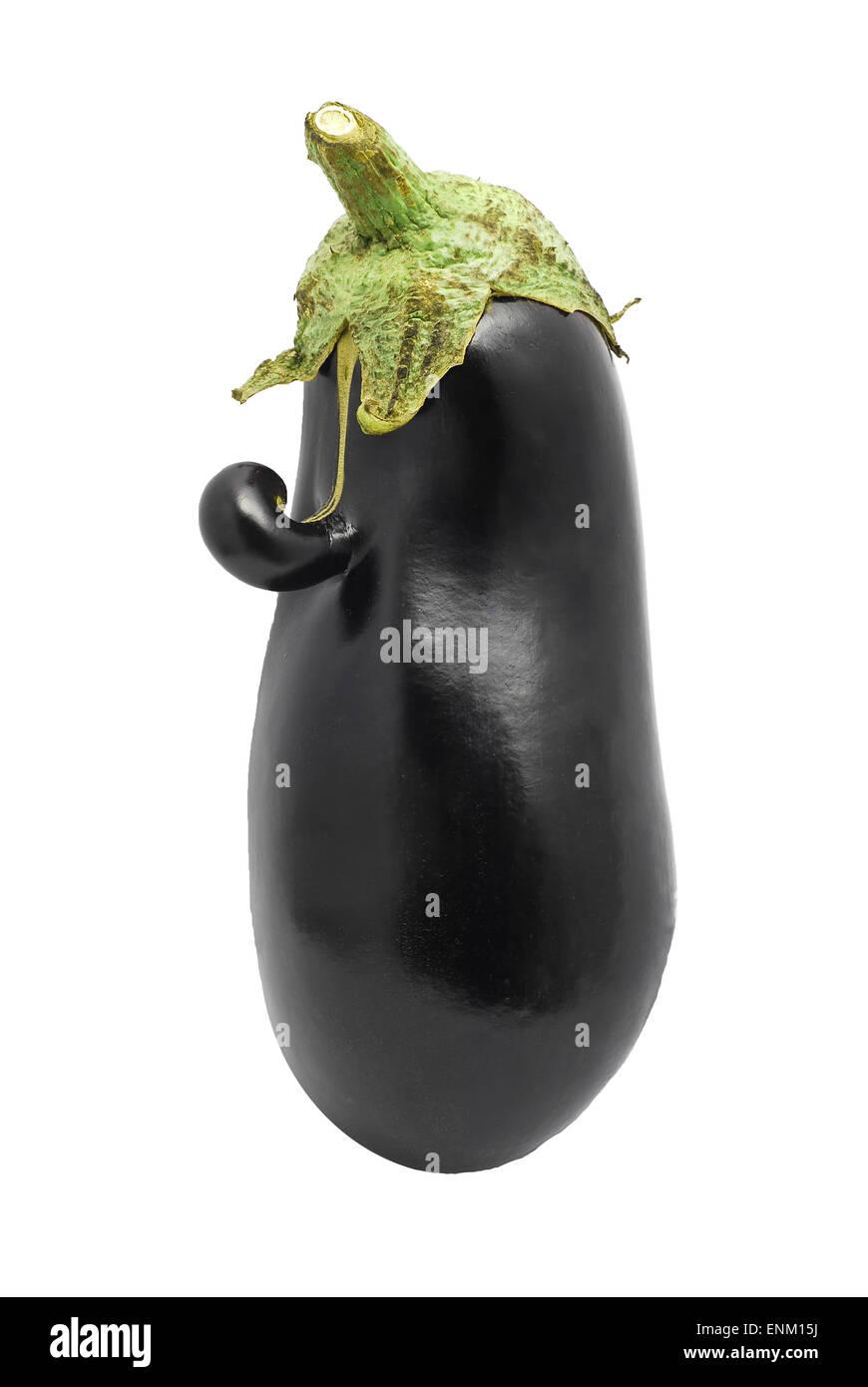 funny eggplant isolated on white - Stock Image