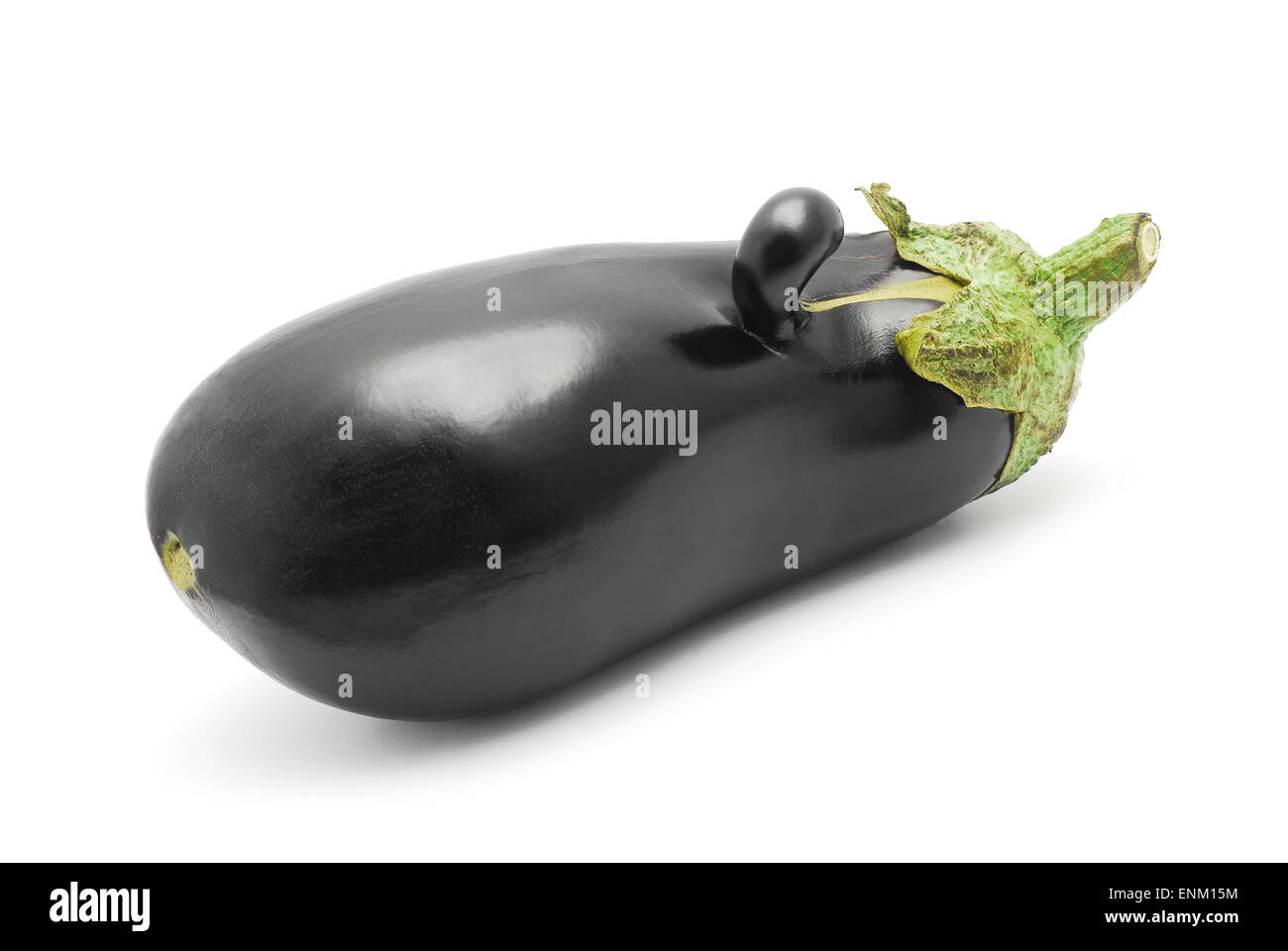 funny shaped egg plant on white - Stock Image