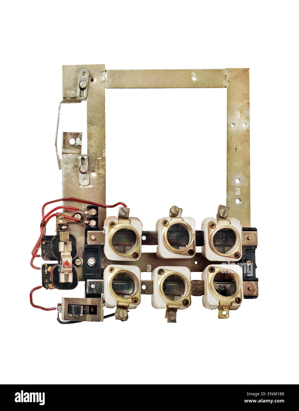 old fuse box isolated - stock image
