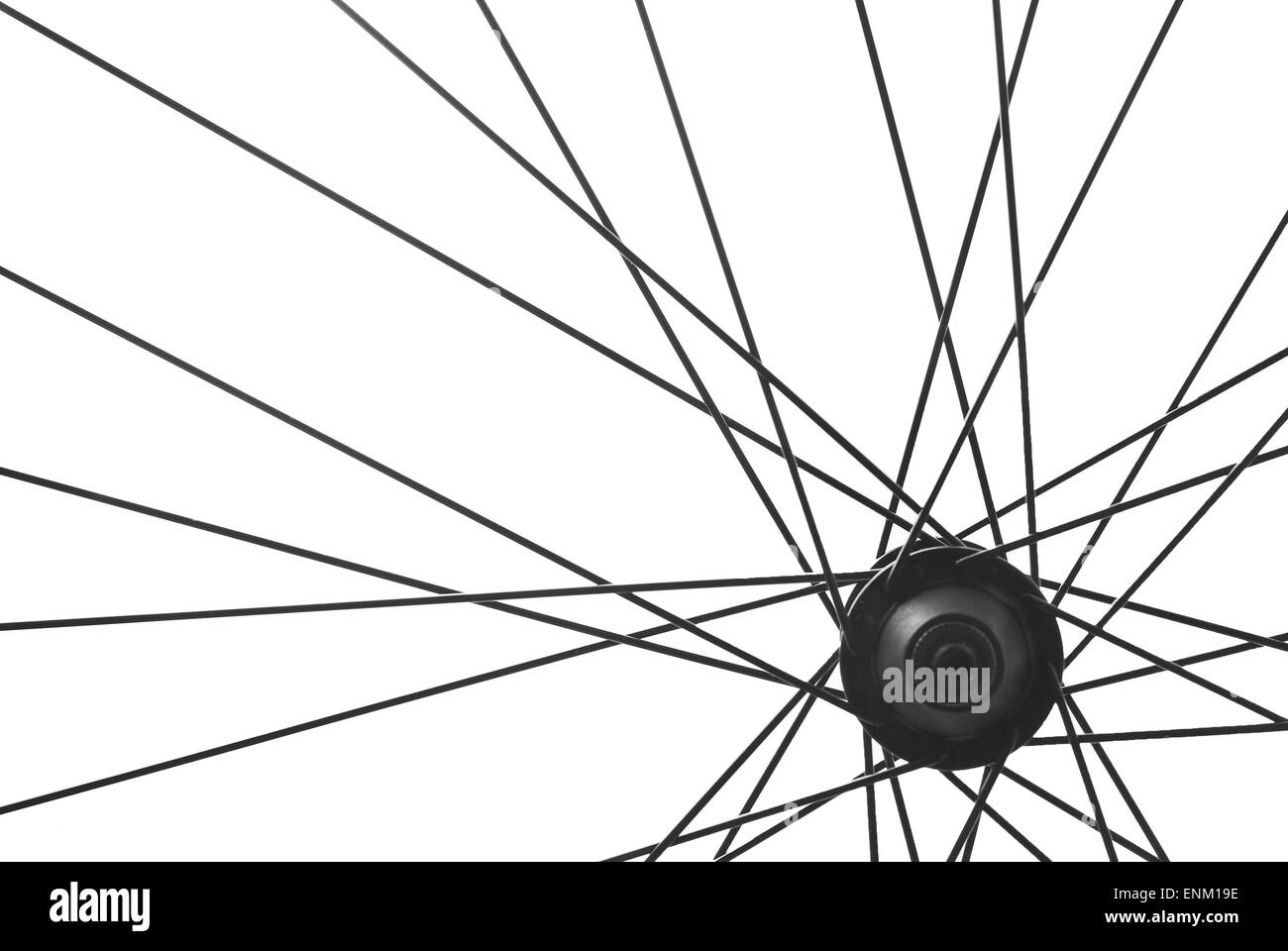 bicycle wheel spoke detail isolated - Stock Image