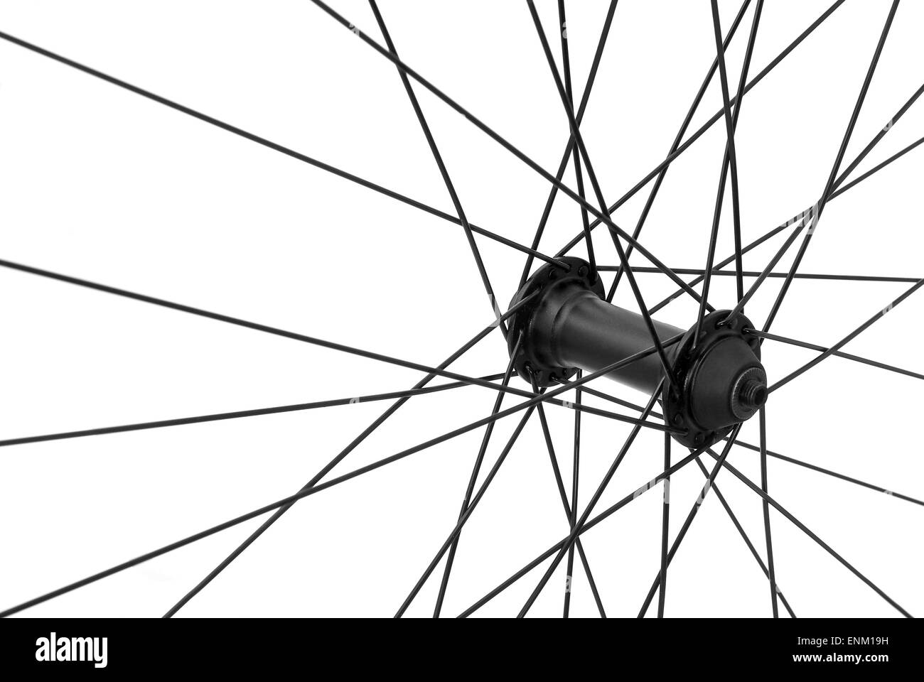 bicycle spoke detail closeup isolated - Stock Image
