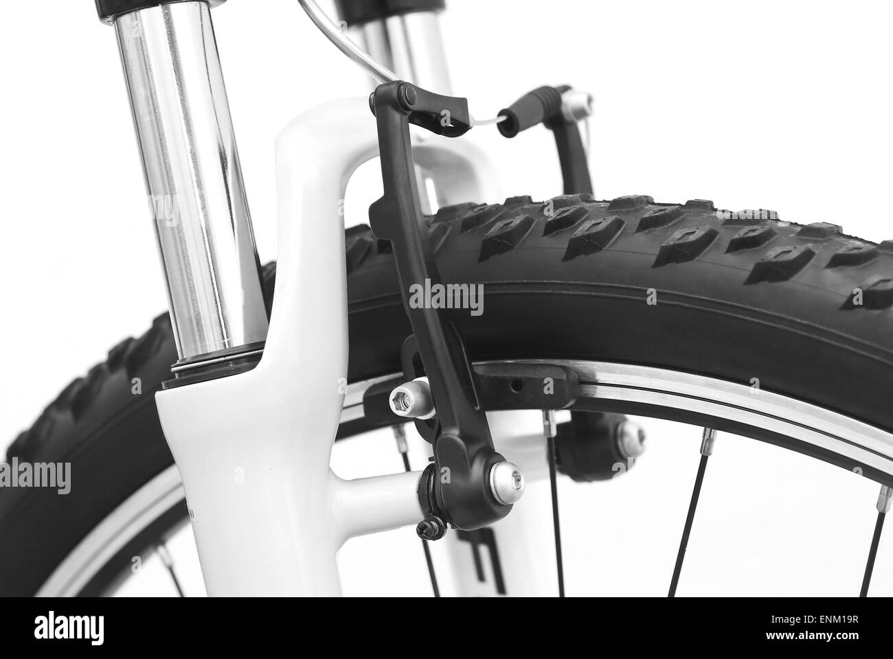 bicycle front v brake detail - Stock Image