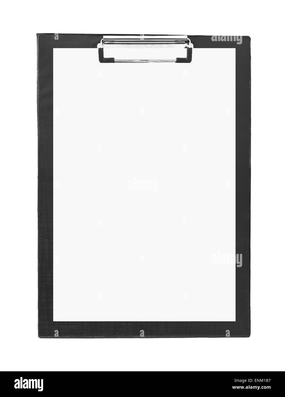 black clipboard on white background - Stock Image