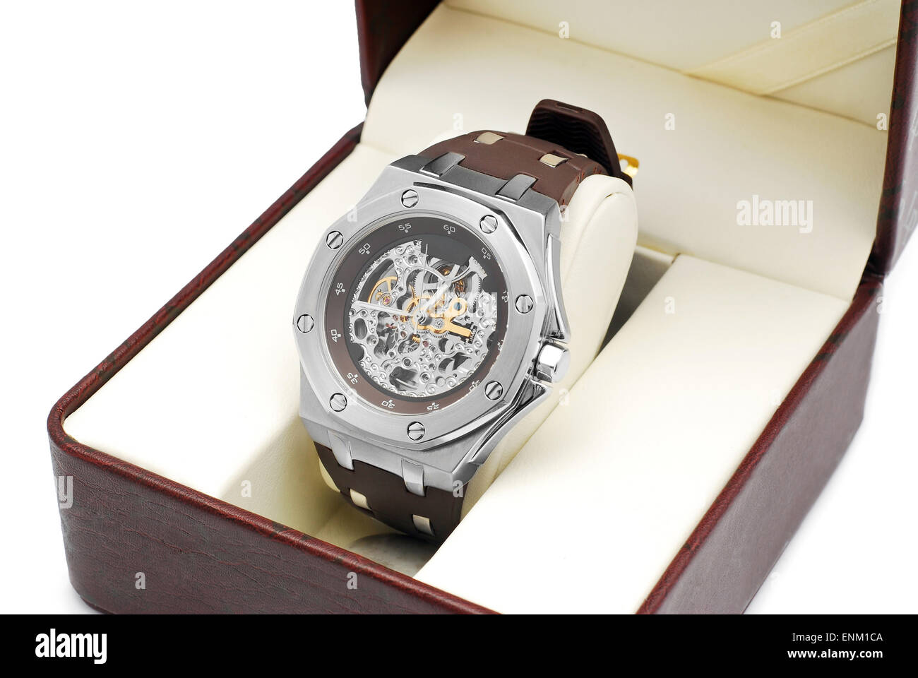 wrist watch in gift box - Stock Image