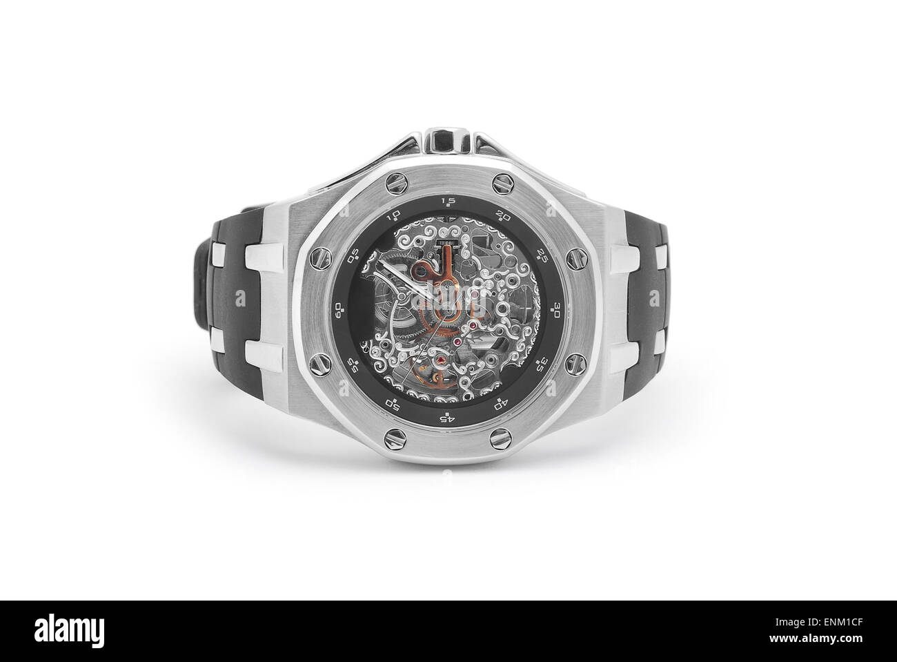 wrist watch with transparent dial - Stock Image