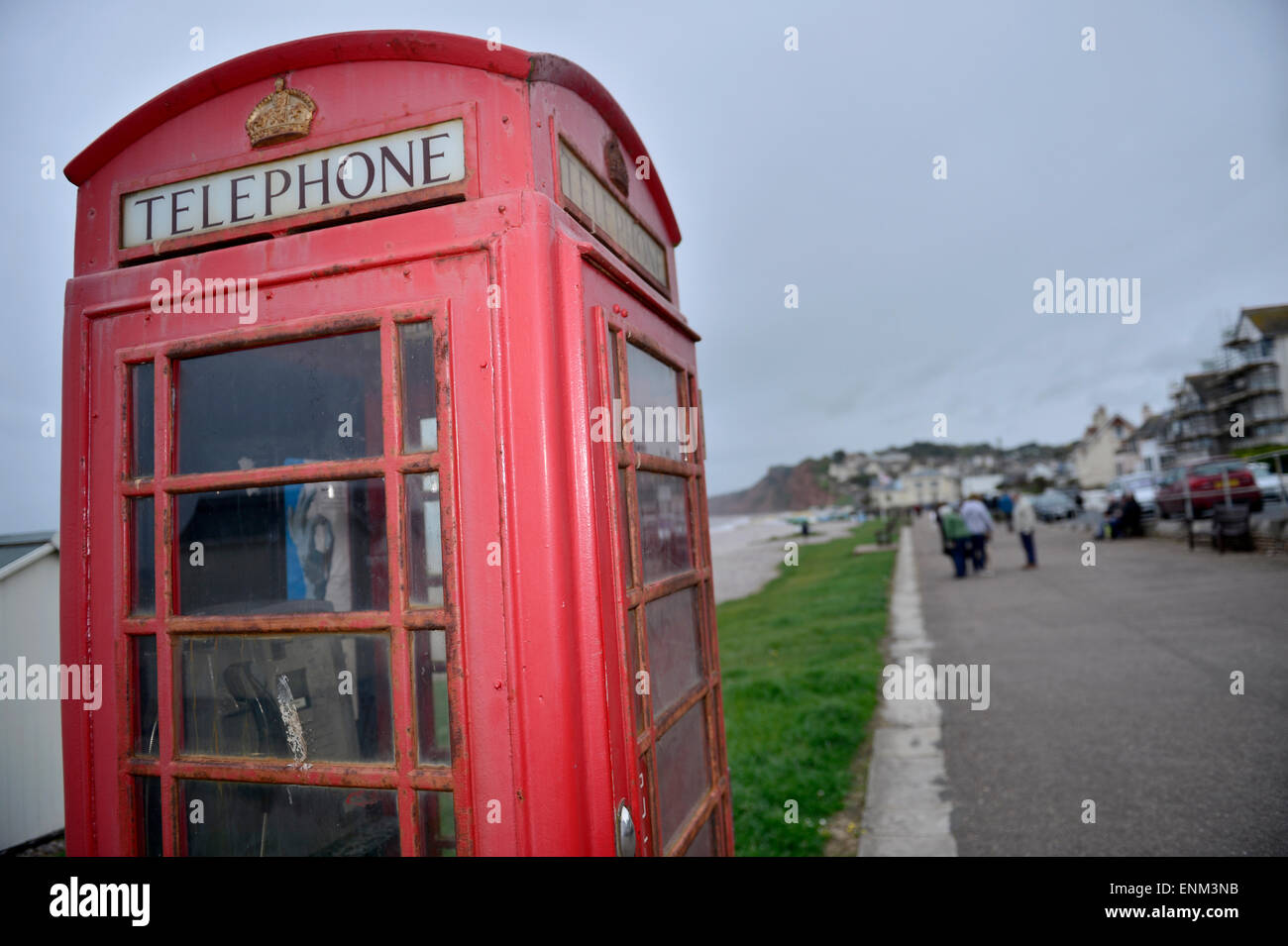 A British red public telephone box. England - Stock Image