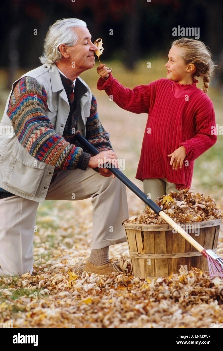 grandfather and granddaughter with leaves - Stock Image