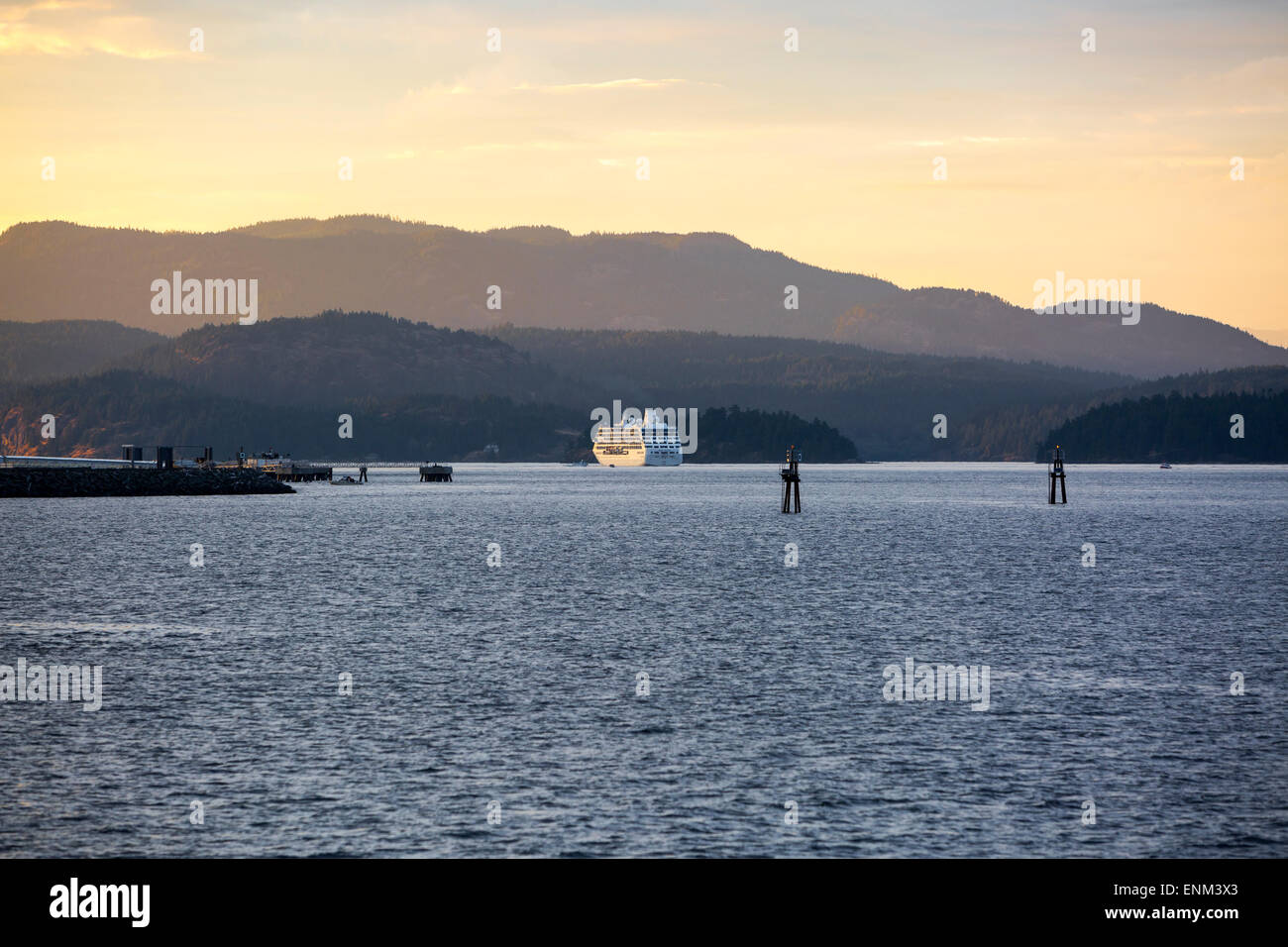 Pacific Princess cruise ship sailing the Inside Passage between Vancouver Island and Quadra Island, British Columbia, - Stock Image